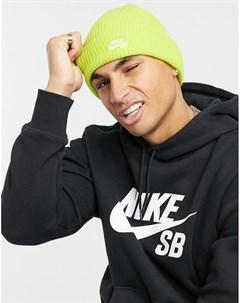 Неоново зеленая шапка бини fisherman Nike sb