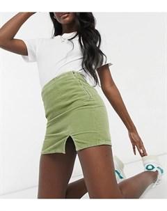 Шалфейно зеленая джинсовая мини юбка с разрезом сбоку ASOS DESIGN Tall Asos tall