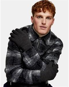 Темно серые перчатки для сенсорных экранов Topman