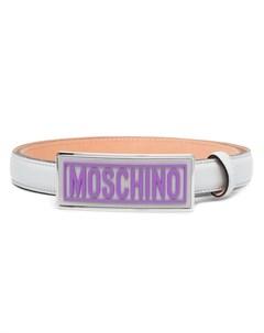 Ремень с эмалированной пряжкой Moschino