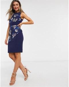 Темно синее платье футляр со вставками и цветочным принтом Paper dolls