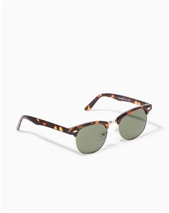 Классические очки в квадратной черепаховой оправе Topman