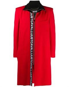 Пальто с воротником в рубчик и логотипом Just cavalli