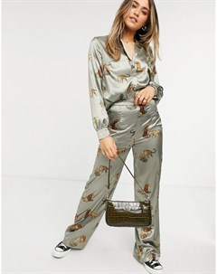 Коричневые широкие брюки с принтом тигров от комплекта Chi chi london