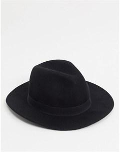 Черная шляпа из шерсти Topman