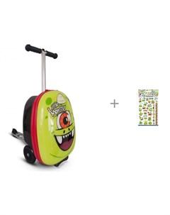 Трехколесный самокат с чемоданом Monster и Наклейки тату переводные PrioritY Ам Ням 2 Zinc