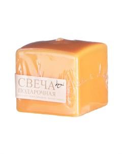 Свеча призма оранжевая 6х6х6 см Lumi