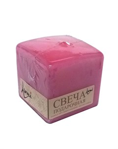Свеча призма квадратная 6x6x6 розовая Lumi