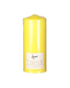 Свеча бочонок желтая 7х18 см Lumi