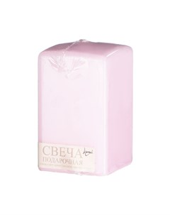 Свеча призма розовая 6х6х10 см Lumi