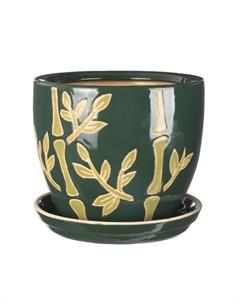 Горшок для цветов с поддоном бамбук 15 см Viet thanh