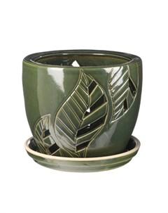 Горшок для цветов с поддоном зеленый лист 15 см Viet thanh