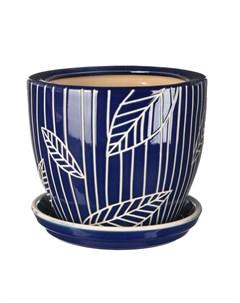 Горшок для цветов с поддоном синий лист 28 см Viet thanh