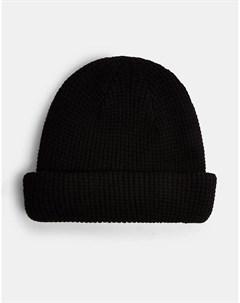 Черная шапка бини с вафельной фактурой Topman