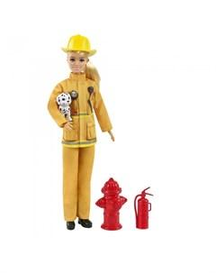 Кукла Барби пожарный в пожарной форме и с тематическими аксессуарами Barbie