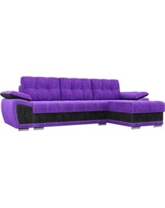 Диван угловой Нэстор велюр фиолетовый вставка черная правый угол Артмебель