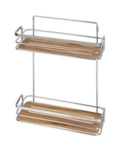 Полка Wood для ванной комнаты двойная Fora