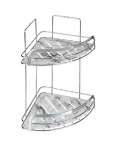 Полка Marble для ванной комнаты угловая двойная Fora