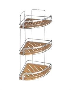 Полка Wood для ванной комнаты угловая тройная Fora