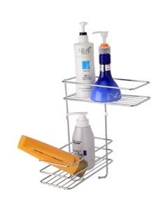 Полка Optima для ванной комнаты и кухни угловая двойная Fora