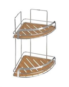 Полка Wood для ванной комнаты угловая двойная Fora