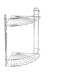 Полка Romia для ванной комнаты и кухни угловая двойная Fora