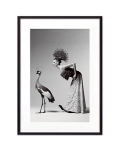 Постер в рамке Девушка и журавль 40x60 см Дом корлеоне