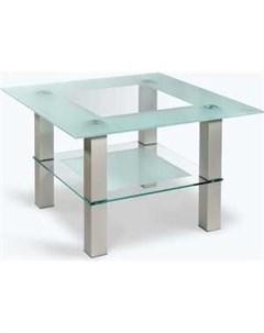 Стол журнальный Кристалл 1 алюминий прозрачное Мебелик