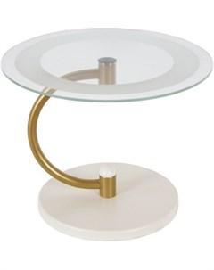 Стол журнальный Дуэт 13Н золото слоновая кость прозрачное Мебелик