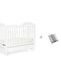 Детская кроватка Regency маятник универсальный и Набор пеленок BabyOno муслин Bebizaro