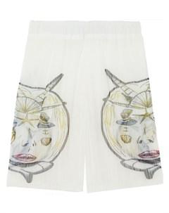 Плиссированные шорты с принтом Burberry