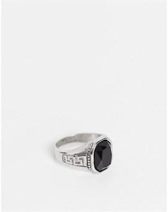 Серебристое кольцо печатка с черным камнем Sovereign Topman