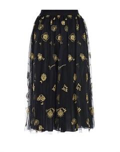 Черная юбка с золотистой вышивкой Ermanno ermanno scervino