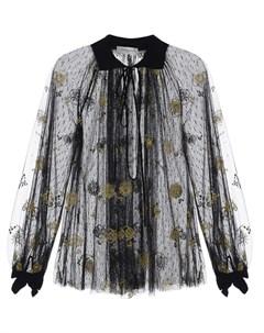 Черная блуза с золотистой вышивкой Ermanno ermanno scervino