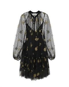 Черное платье с золотистой вышивкой Ermanno ermanno scervino
