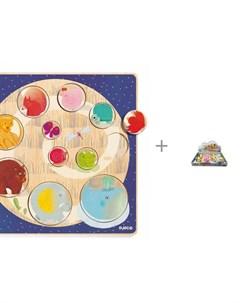 Деревянная игрушка рамка вкладыш Запомни размер и Набор игровой Junfa Фигурка животного Djeco