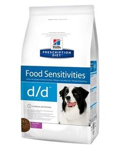 Hill s Prescription Diet D d Duck Rice для взрослых собак при пищевых аллергиях с уткой и рисом 12 1 Hill`s
