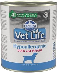 Vet Life Canin Hypoallergenic для взрослых собак при пищевой аллергии непереносимости с уткой и карт Farmina