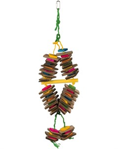 Игрушка для птиц на верёвке деревянная разноцветная 18 35 см 1 шт Trixie