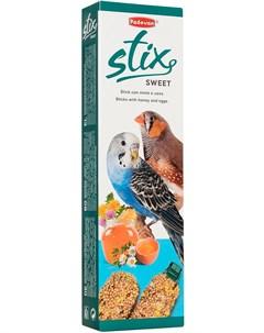 Stix Sweet Cocorite палочки лакомство для волнистых попугаев и экзотических птиц с медом и яйцом 80  Padovan