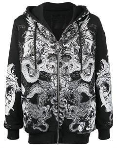 Куртка на молнии с капюшоном и принтом Philipp plein