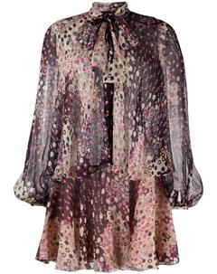 Ярусное короткое платье с цветочным принтом Dsquared2