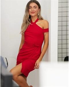 Красное платье футляр с запахом и халтером Paper dolls