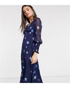 Платье миди с вырезом сердечком со звездным принтом в тон Neon rose
