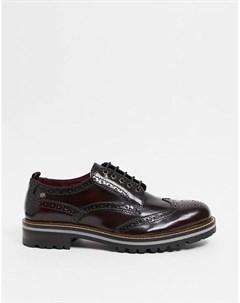 Бордовые блестящие ботинки броги Сolver Base london