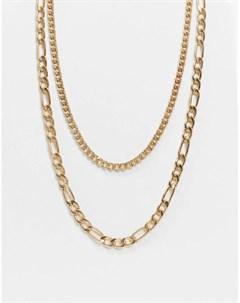 Золотистое многорядное ожерелье цепочка Bershka