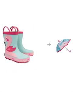 Резиновые сапоги для девочки и зонт Фло Oldos