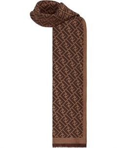 Шарф с бахромой и жаккардовым логотипом Fendi