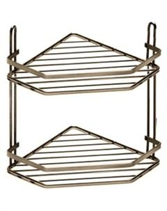 Полка для ванной комнаты и кухни угловая двойная бронза Fora
