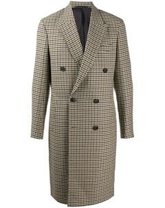 Двубортное пальто в ломаную клетку Paul smith